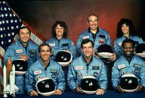This is the official NASA photo of the crew of the space shuttle Challenger. From front left, are: astronauts Michael J. Smith, Francis R. (Dick) Scobee, and Ronald E. McNair. Rear left are: Ellison Onizuka, Christa McAuliffe, Gregory Jarvis and Judith Resnik.