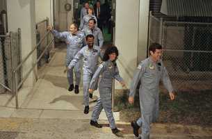 The crew for the Space Shuttle Challenger: Front to back the commander Francis Scobee, Mission Spl. Judy Resnick, Mission Spl. Ronald McNair, Payload Spl. Gregory Jarvis, Mission Spl. Ellison Onizuka, teacher Christa McAuliffe and pilot Michael Smith