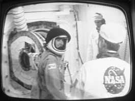 At rear is the hatch as McAuliffe entered the space shuttle Challenger.