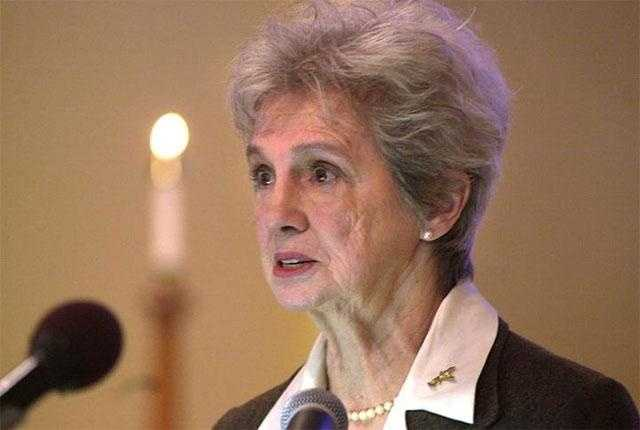 Grace Corrigan speaks during a memorial Mass on January 28, 2002 at Framingham State College marking the 17th anniversary of the Challenger tragedy.