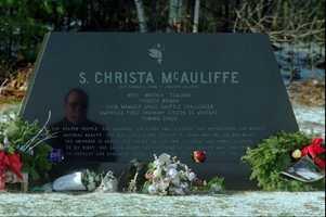 McAuliffe's grave in Concord, New Hampshire.