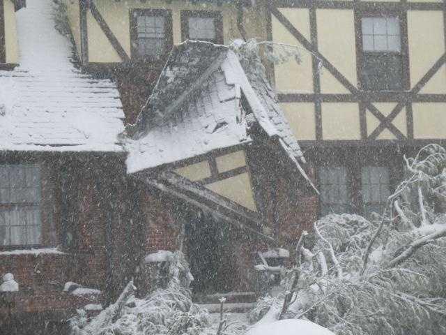 A damaged home in Jamaica Plain