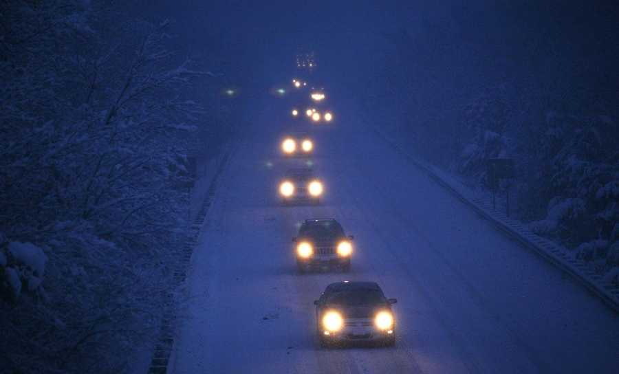 On Route 3 northbound in Norwell, traffic crawls at 7 am.