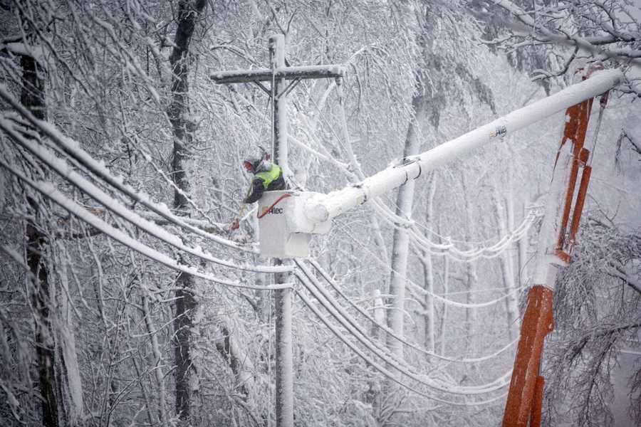 On Lincoln Street in Norwell a utility worker cuts fallen limbs from power lines.