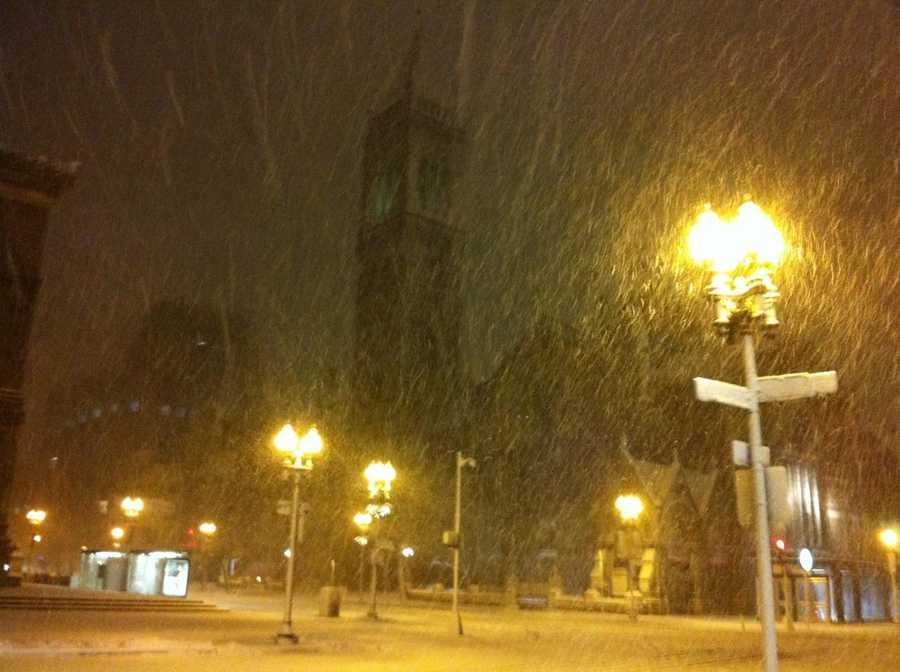 Berkley and Dartmouth Streets in Boston at 4:45 a.m.