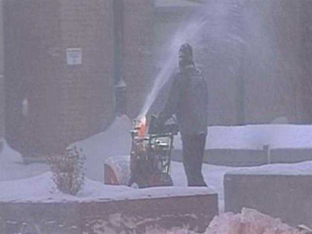 Snow blowers were on continuously as the blizzard raged.