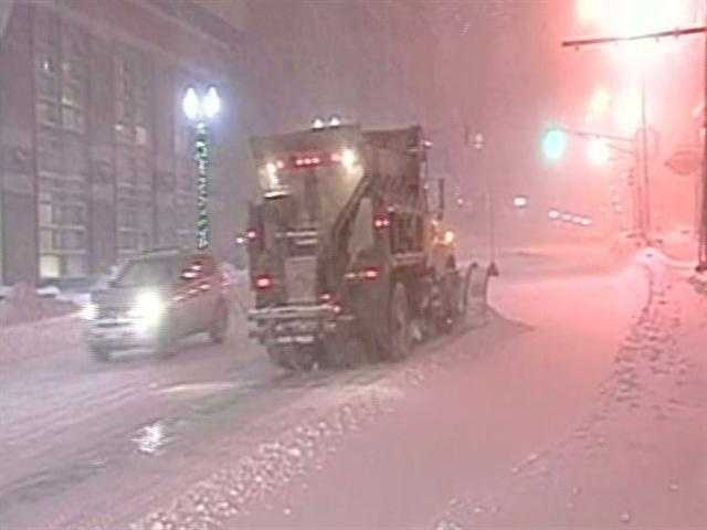 Plows working in Worcester, Mass.