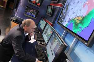 Harvey Leonard checking the latest data as a winter storm hits the region
