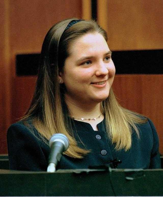 British nanny Louise Woodward testifies at the Middlesex Superior Court in Cambridge, Mass., Monday Oct. 27, 1997. Woodward was convicted of shaking infant Matthew Eappen to death.