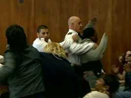 A family member reacted with anger and had to be removed from the courtroom.