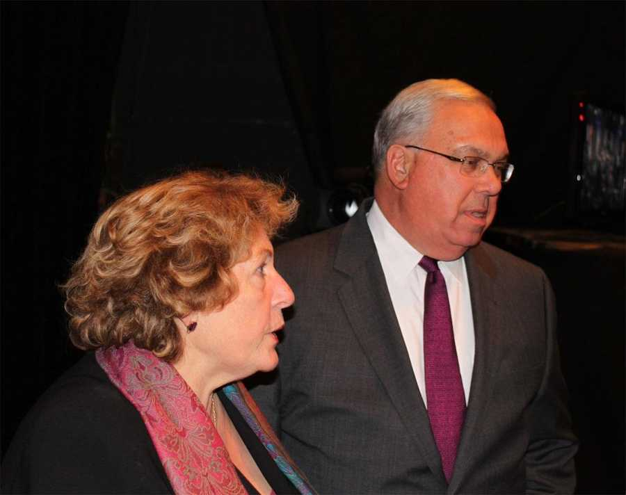 Menino and his wife Angela at the WCVB studios on October 25, 2010