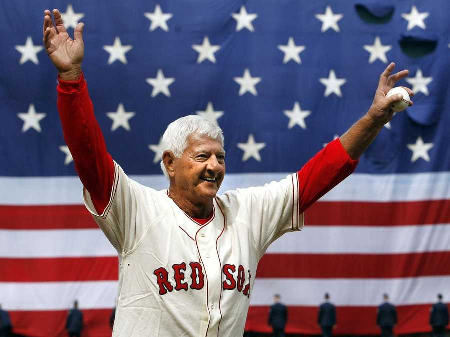 Yastrzemski waves to the fans after throwing out the first pitch prior to the home-opener against the Yankees on April 8, 2011.