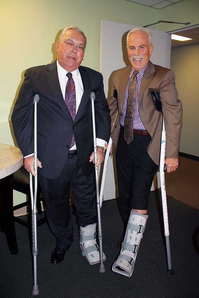 Mayor Menino was recovering from a broken toe when he met with Randy Price (broken leg) at the WCVB studios in April 2012.