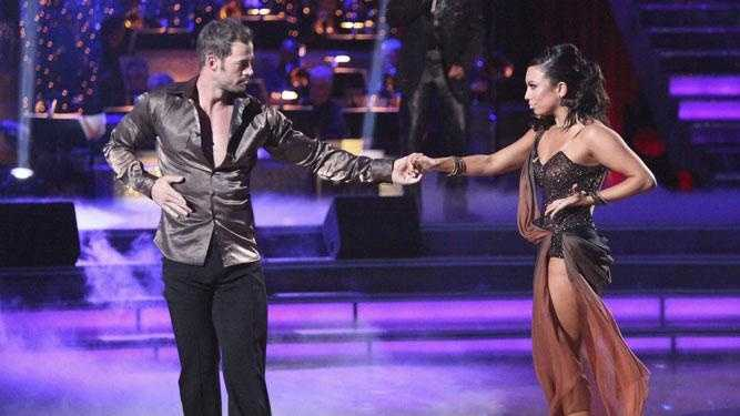 "In this April 23, 2012 image released by ABC, William Levy, left, and his partner Cheryl Burke perform on the celebrity dance competition series, ""Dancing with the Stars,"" in Los Angeles."