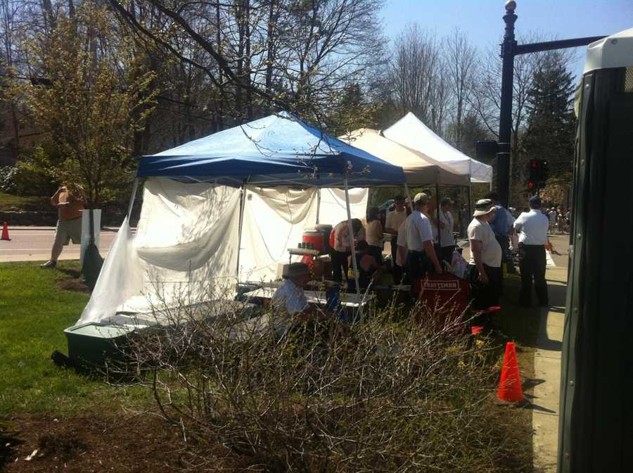 A runner being treated at the medical tent in Wellesley.