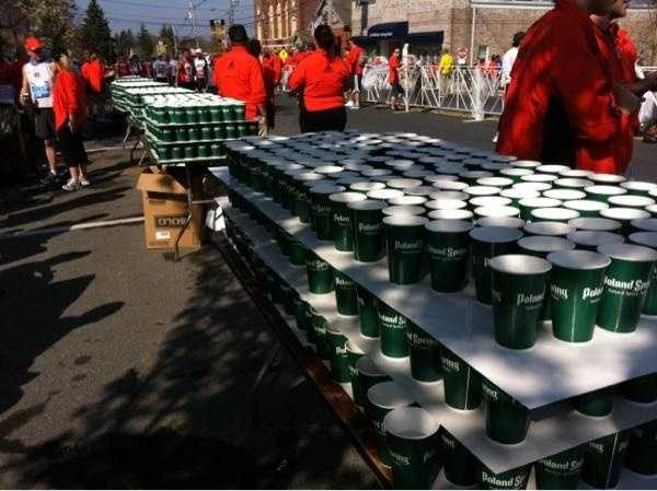 Cups of water for the runners