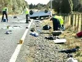 The students were traveling in a minivan at about 7:30 a.m near the North Island vacation town of Taupo when New Zealand police said the vehicle drifted to the side of the road and then rolled over.