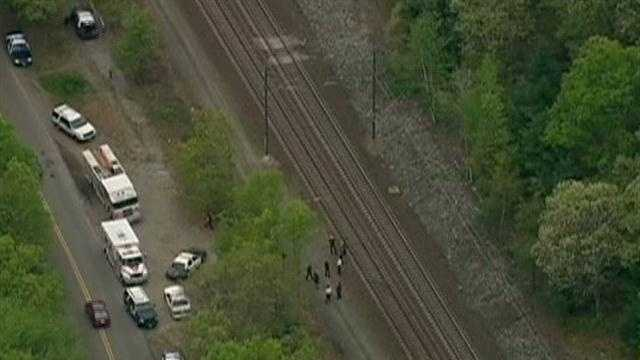 A pedestrian was struck and killed by an AMTRAK train on the Providence line between Sharon and Mansfield on Monday.