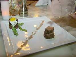 ...and the duo of beef appetizer, steak tartar and tea-smoked tenderloin.