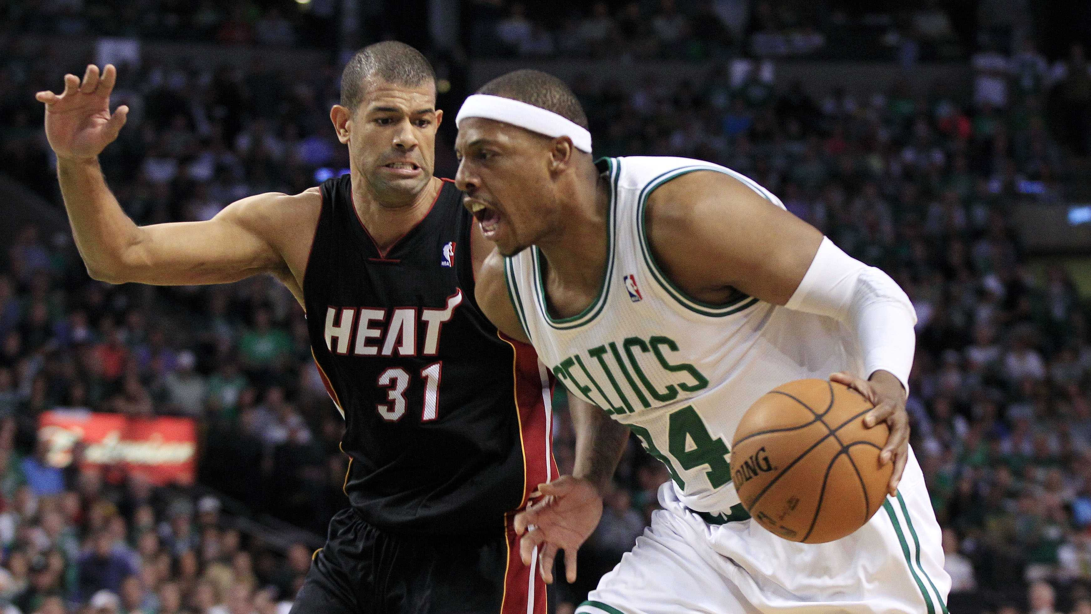 Paul Pierce drives against Miami Heat forward Shane Battier during the first quarter of Game 3 in the NBA basketball playoffs Eastern Conference finals.