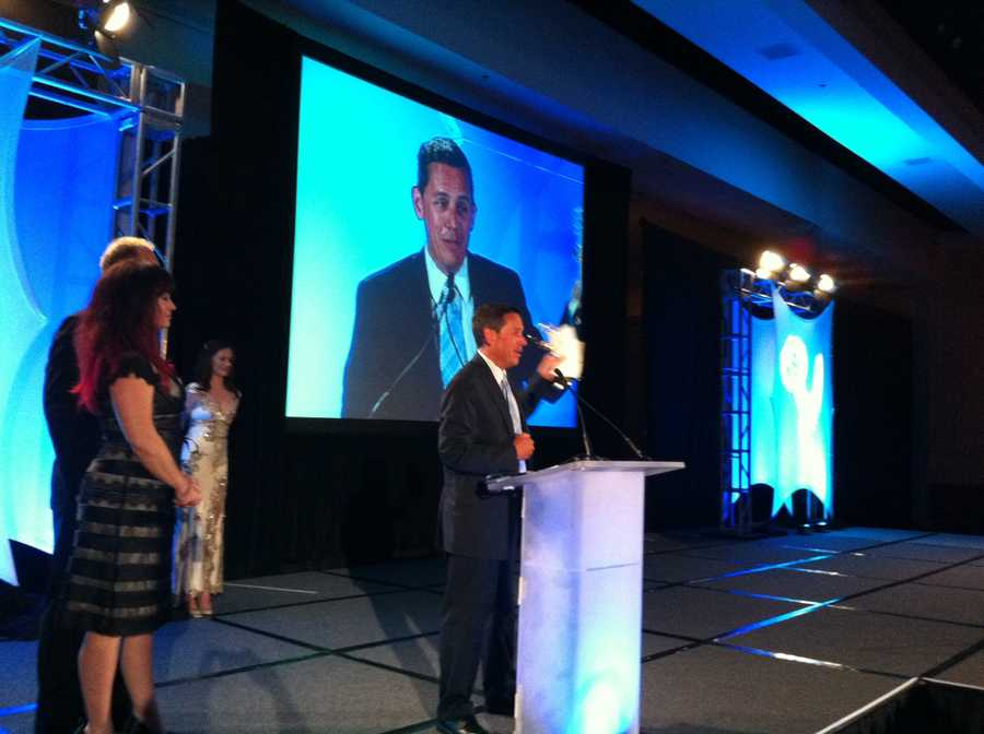 WCVB-TV News Director Andrew Vrees accepts the EMMY for Outstanding Newscast:  NewsCenter 5 at 11.