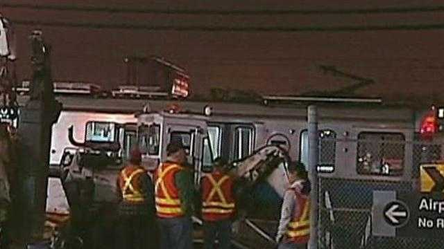 Blue line train collides with vehicle in East Boston