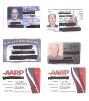 These are identifications purportedly used by Bulger, including an AARP card.