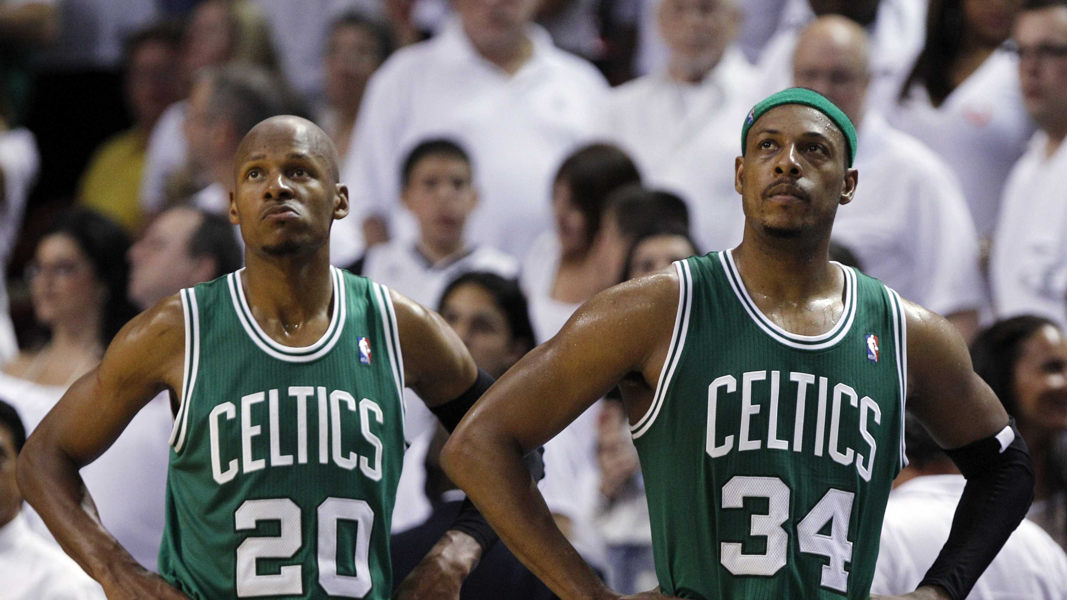 Ray Allen and Paul Pierce look up at the scoreboard as the Celtics fall behind the Miami Heat.