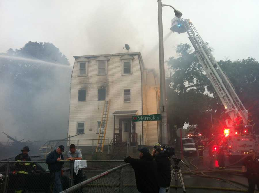 Worcester firefighters attack 4-alarm fire which started at 20 Merrick Street