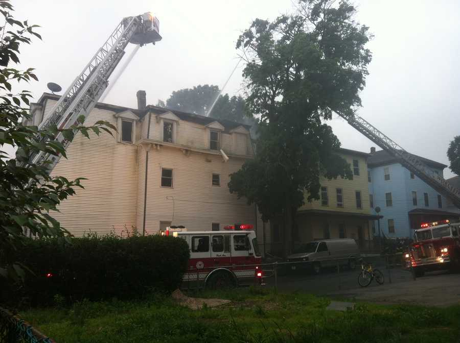 Eight buildings were damaged. No injuries reported.