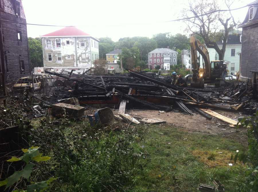 The remains of one of eight buildings damaged in Worcester multi-alarm fire.
