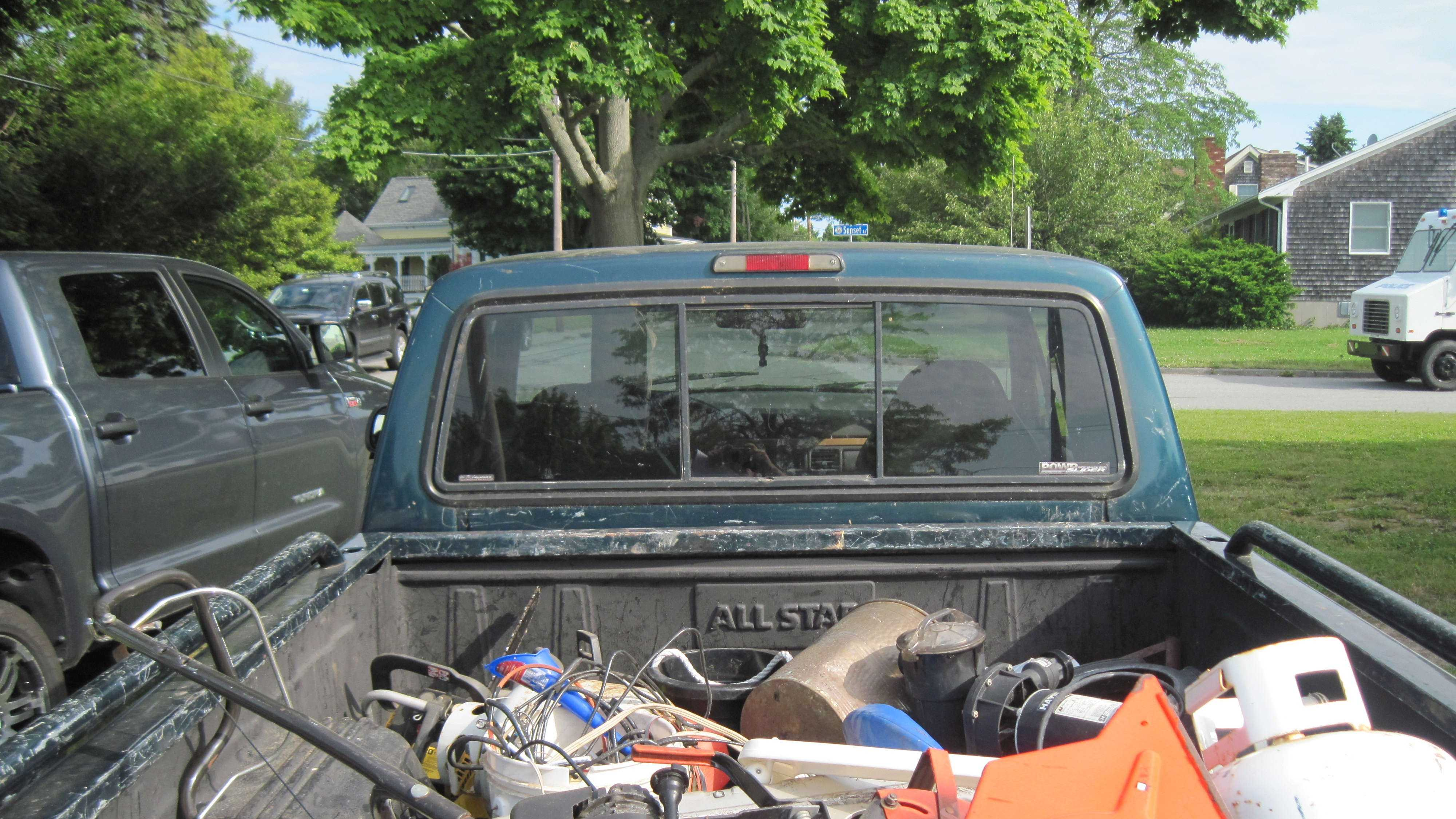 Police allege thieves posing as maintenance workers loaded up this truck with stolen goods.