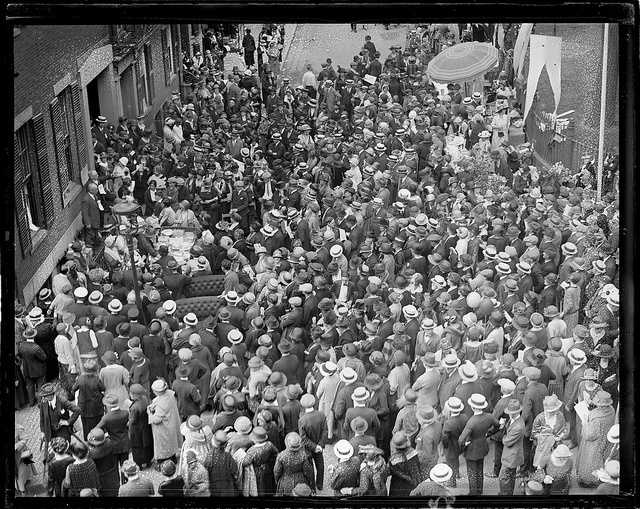 Crowds fill the streets in 1924.