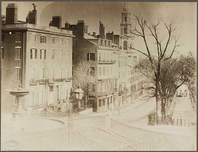 Looking down Park Street from the State House, 1858.