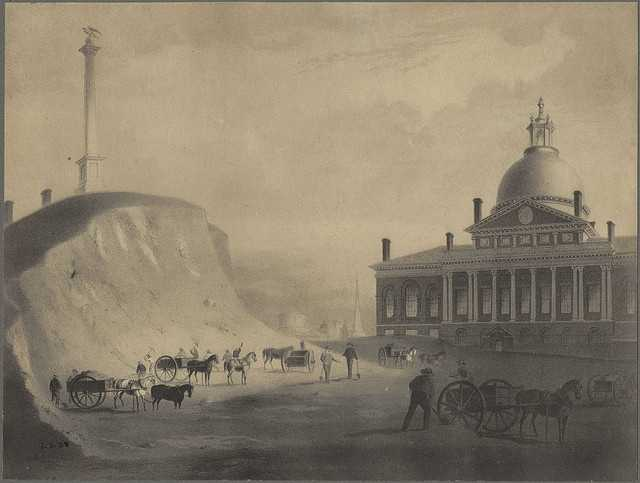 Parking appears plentiful in front of the State House in this undated photo.