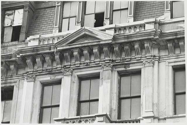 Close-up of the architectural design on one Beacon Hill building, 1970.