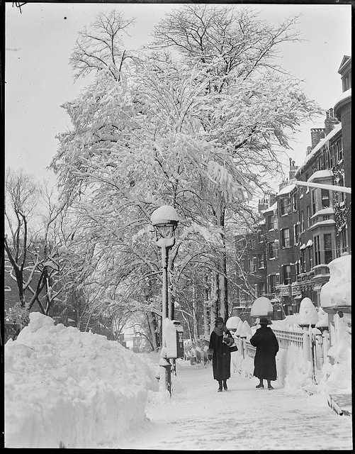 Two residents braving the elements, 1917 - 1934.