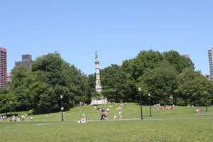 Standing 126 feet, the monument is located atop Flag Staff Hill on Boston Common.