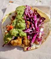 """Megan writes in her blog about food trucks in Boston, """"with purple cabbage, soft yellow corn tortilla, and bright green guac, they are more than easy on the eyes—they are the (young) Harrison Ford of tacos."""""""