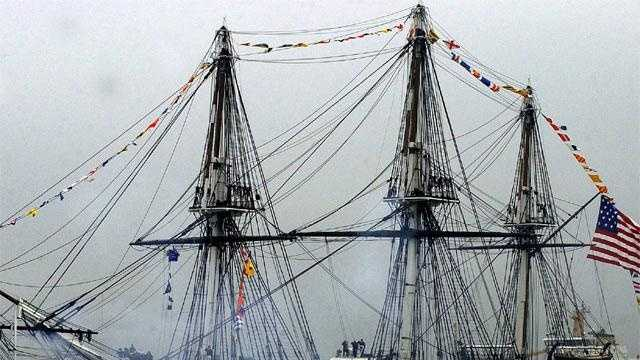 The ship's sail compliment&#x3B;Fore topsail – 2,369 square feetMain topsail – 3,366 square feetLargest sail: 56 feet wide at the head (top), 50 feet high at the leeches (sides), and 74 feetwide at the foot (bottom).Mizzen topsail – 1,617 square feetSpanker – 1,697 square feet (weather/wind dependent)