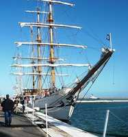 Guayas of Ecuador is a 257-foot long tall ship that is used to train cadets from the Ecuadorian Naval Superior School at Guayaquil. She will be docked at the Fish Pier.