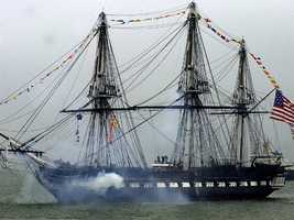 The 1997 sailing of USS Constitution was the first time the ship had sailed under its own power since 1881. The length of the ship is 207 feet billet head to taffrail and175 feet at the waterline. Itswidth is 43 feet 6 inches. The height of the mainmast is 210 feet (bottom of keel to truck).