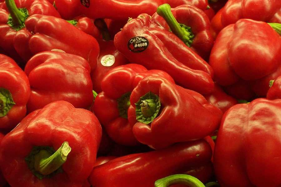 Foods rich in Vitamin C include red peppers, oranges, and potatoes.
