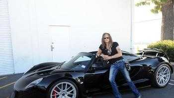 Steven Tyler with his $1.1 million custom-built Hennessey Venom GT Spyder.