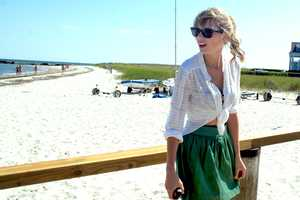 Singer Taylor Swift visited Robert Kennedy Jr., Ethel Kennedy and other family members Tuesday at the Kennedy compound in Hyannis Port.