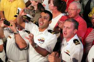 The Navy is in town for Fleet Week and the crowd was full of sailors enjoying the evening.