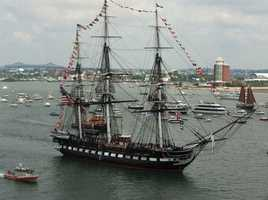 On April 13, 1814,The U.S.S. Constitution was being chased by two British frigates. The ship was near Marblehead Harbor, which was a seen as a safe refuge. The entrance into the harbor is treacherous. Samuel Green, a member of Constitution's crew and a native of Marblehead, volunteered to guide the ship into the harbor. Green steered the ship between Marblehead Rock and Marblehead Neck. The cannons at Fort Sewall kept the British frigates from following.