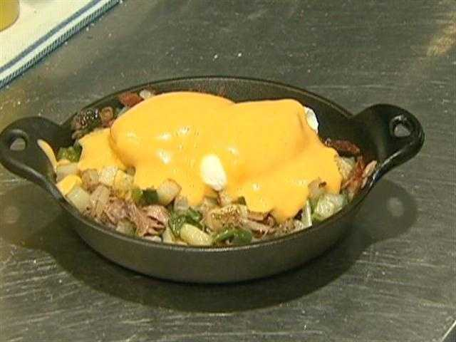 Start the day with carbo-loading on duck confit hash.