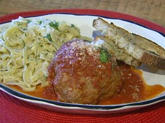 For dinner, a signature one- to two-pound meatball, to share with friends.