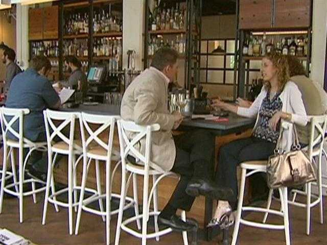 A large bar compliments West Bridge's French-influenced tasting plates.